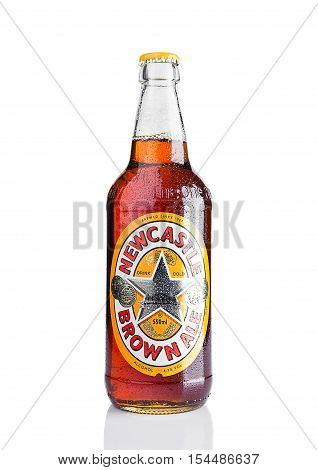 LONDON UK - NOVEMBER 01 2016: Cold bottle of Newcastle Brown Ale beer. Launched in 1927 by Colonel Jim Porter after the merger of Newcastle Breweries with Scottish Brewers.