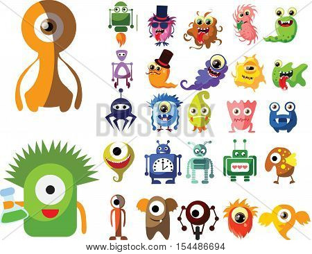 Vector set of drawings of different characters isolated monsters, robots, germs, bacteria