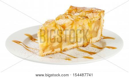 Slice Of Apple Pie Isolated On White Background