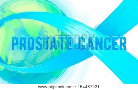 Vector illustration of prostate cancer awareness background isolated on white. Ribbon preventing the male prostate disease and cancer symbol blue bow, world earth. Painted blue ribbon emblem