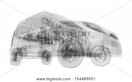 X-ray car isolated. Radiography illustration 3d render