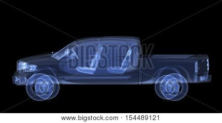 X-ray pickup isolated. Radiography illustration 3d render