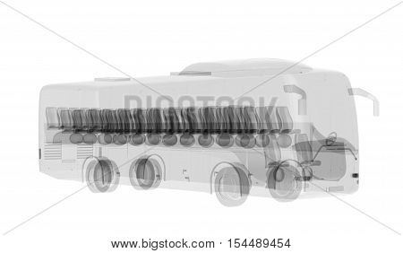 X-ray bus isolated on white. Radiography illustration 3d render