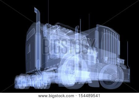 X-ray truck isolated. Radiography illustration 3d render