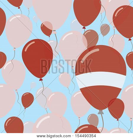 Latvia National Day Flat Seamless Pattern. Flying Celebration Balloons In Colors Of Latvian Flag. Ha
