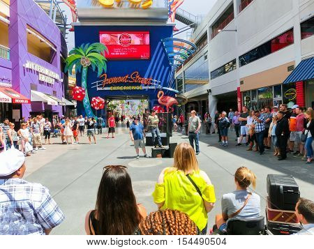 Las Vegas United States of America - May 07 2016: The street performances and people at Fremont Street at day at Las Vegas United States of America