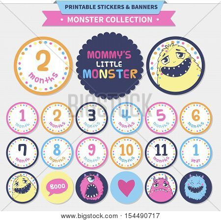 Monster collection. Vector printable stickers and banners for babies.