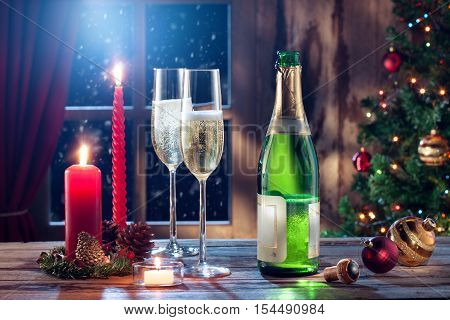 close up view of champagne with candles color back