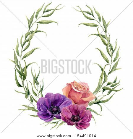 Watercolor floral wreath with eucalypts leaves, rose and anemones. Hand painted floral border with branches, leaves and flowers isolated on white background. For design or background.