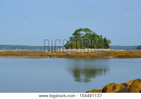 Reflectoins of Little French island in the water of Casco Bay Maine.