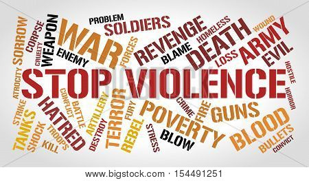 Stop violence word cloud concept. Gradient gray background.