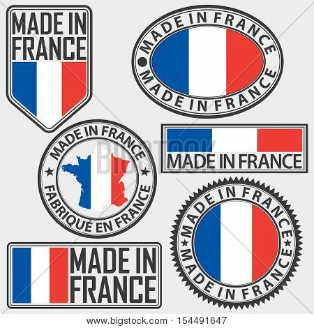Made in France label set with flag vector illustration