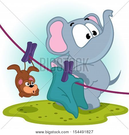 Elephant mistakenly  hung on clothespins mouse by the tail - vector illustration