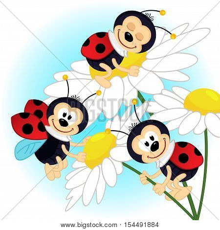 ladybug on camomile - vector illustration, eps