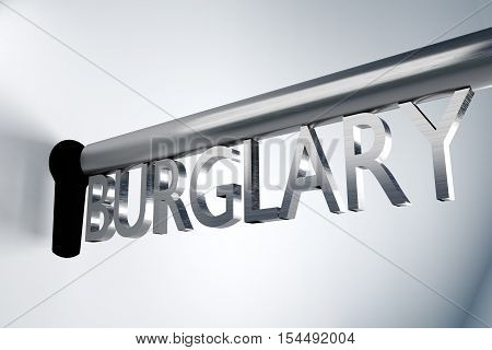 metal key burglary unlock keyhole 3D Illustration