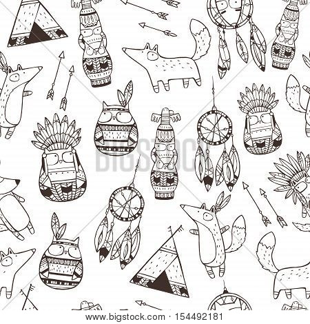 Seamless vector pattern with hand drawn indian elements, funny animals, arrows, dream-catchers, totem.