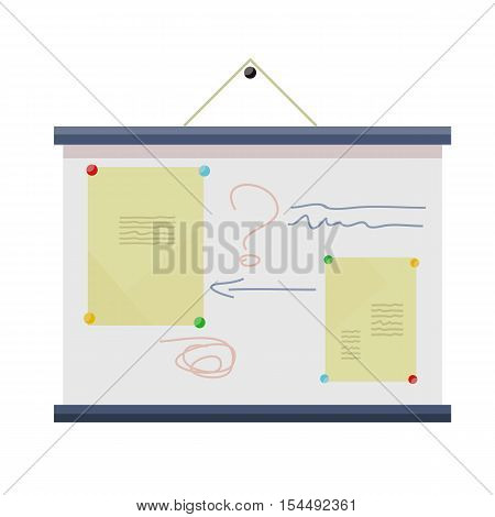 Whiteboard on the wall with information. Board at a presentation with information, scheme and list. On whiteboard show financial and analytical information. Isolated object in flat design
