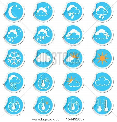Weather forecast icons on the stickers set