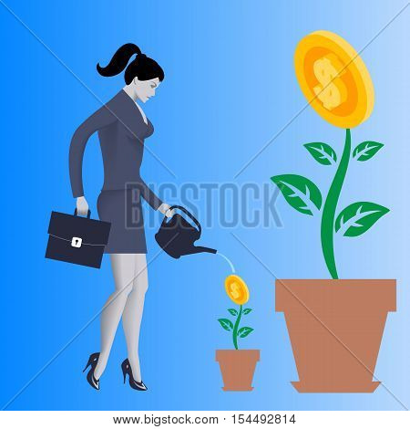 Growing new business concept. Pensive business woman in business suit with case and watering can in her hands watering small plant in clay pot with golden coin instead of flower.