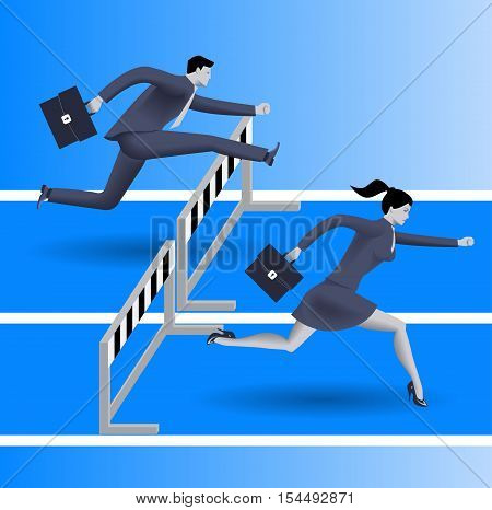 Ladies can compete business concept. Business lady runs against businessman on career path with equal number of obstacles and beats him fair. Gender differences and possibilities concept.