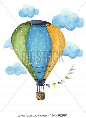 Watercolor hot air balloon set. Hand drawn vintage air balloons with flags garlands, clouds, polka dot pattern and retro design. Illustrations isolated on white background. For design, print and background