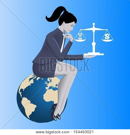 Time money balance business concept. Pensive business woman in business suit sitting on the globe and holding scales with time symbol on left plate and dollar symbol on right plate.