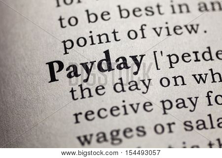 Fake Dictionary Dictionary definition of the word payday.