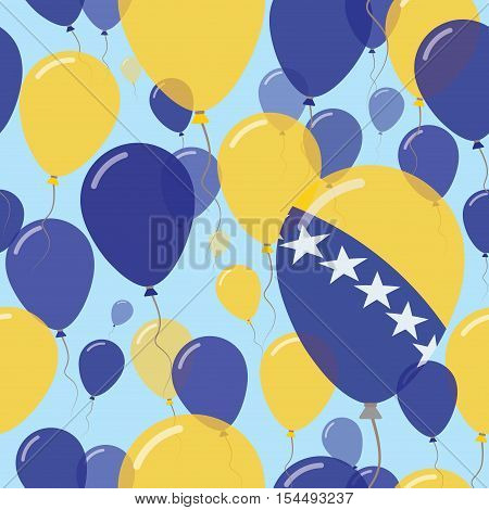 Bosnia And Herzegovina National Day Flat Seamless Pattern. Flying Celebration Balloons In Colors Of