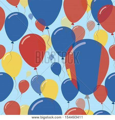 Mongolia National Day Flat Seamless Pattern. Flying Celebration Balloons In Colors Of Mongolian Flag