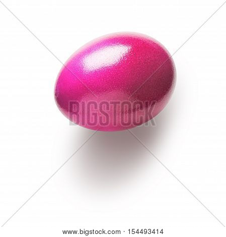 Pink painted easter egg isolated on white background. Holiday symbol. Single object with clipping path