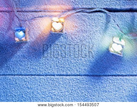 close up view of  color lights on snowbound back