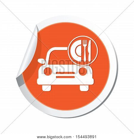 Car with meal icon on the sticker