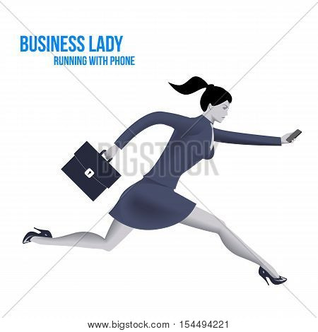 Business lady running with mobile phone template. Running business lady in business suit with case and mobile phone isolated on white background. Vector illustration.