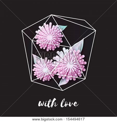 Terrariums with paper cut flowers. Wedding, marriage, bridal, birthday, Valentine's day. Origami garden in glass terrarium. Vector illustration
