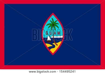 Flag of Guam (US) Hagatna - Melanesia. illustration