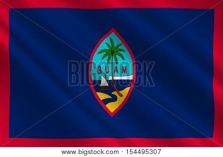 Flag of Guam (US) Hagatna - Melanesia. 3d illustration