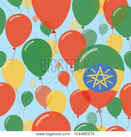 Ethiopia National Day Flat Seamless Pattern. Flying Celebration Balloons In Colors Of Ethiopian Flag