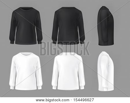 Vector set template of male T-shirts with long sleeve front, side, rear