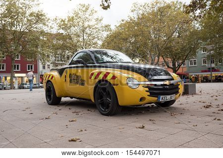 KEHL GERMANY - OCT 18 2016: Chevrolet SSR parked in city center on a autumn day. he Chevrolet SSR (Super Sport Roadster) was a retractable hardtop convertible pickup truck manufactured by Chevrolet between 2003 and 2006.