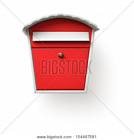 Red mailbox isolated on white background clipping path included