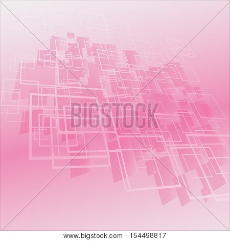 Vector abstract geometric background pink. Cubic design.
