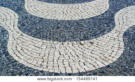 Detail of the portuguese pavement, calçada portuguesa