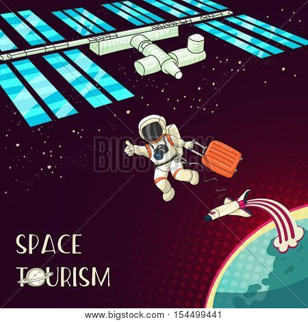 Space tourism concept. Astronaut with travel bag. International Space Station. Retro style design for print card, web. Vector cartoon illustration
