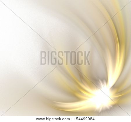 Abstract white background with golden shooting star pattern fractal texture