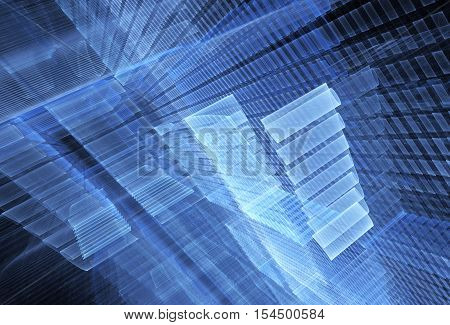 blue structural abstract fractal background a computer-generated 2D illustration