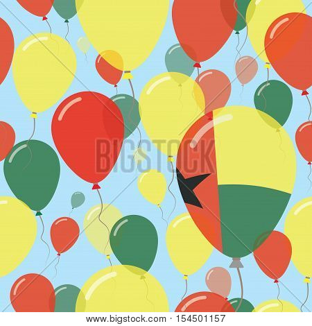 Guinea-bissau National Day Flat Seamless Pattern. Flying Celebration Balloons In Colors Of Guinea-bi