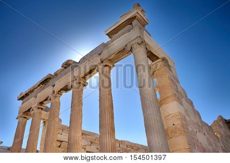 The Erechtheion at the Acropolis in Athens Greece