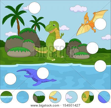 Funny Cute Pterodactyl, Pliosaur And Tyrannosaurus. Complete The Puzzle And Find The Missing Parts O