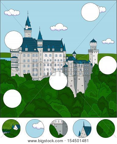 Neuschwanstein Castle. Complete The Puzzle And Find The Missing Parts Of The Picture. Game For Kids