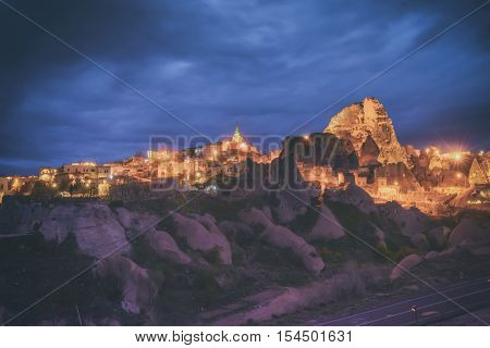 Uchisar castle in Cappadocia, Turkey. Toned like Instagram filter, toned like Instagram filter
